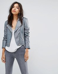 Bolongaro Trevor Antique Leather Jacket Grey