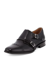 Neiman Marcus Viterbo Leather Double Monk Loafer Black