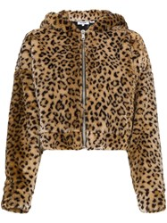 Re Done Faux Leopard Jacket With Hood Ears Brown