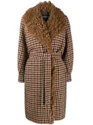 Simonetta Ravizza Shearling Checked Coat Neutrals
