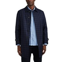 Sealup Plaid Wool Car Coat Navy
