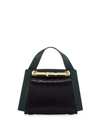 Carven Colorblock Leather Doctor's Tote Bag Green