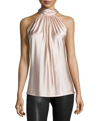 Ramy Brook Paige Halter Neck Top Blush Women's Size Medium Black