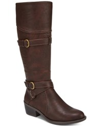 Easy Street Shoes Kelsa Wide Calf Riding Boots Brown Embossed