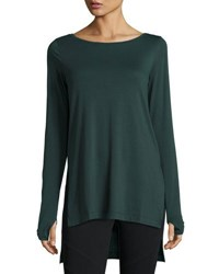Grey State Willow Long Sleeve High Low Tunic Emerald