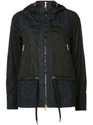 Moncler Hooded Denim Patch Jacket Black