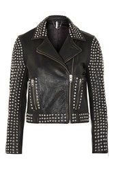 Topshop Studded Leather Biker Jacket Black