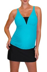 Mermaid Maternity Women's Tankini Top Tropical Blue