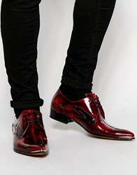 Jeffery West Leather Derby Shoes Red