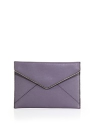 Rebecca Minkoff Zipper Trim Leather Wallet Deep Lavender