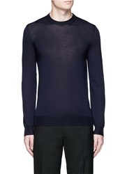 Alexander Mcqueen Skull Leather Elbow Patch Sweater Blue
