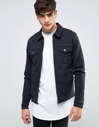 Asos Skinny Fit Zip Through Western Denim Jacket In Black Black