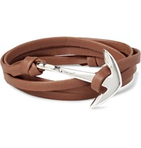 Miansai Leather And Silver Plated Anchor Wrap Bracelet Brown