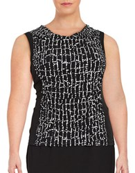 Calvin Klein Plus Cowlneck Shell Black White