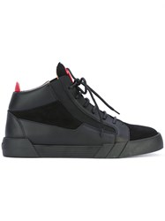 Giuseppe Zanotti Design Shark Hi Top Sneakers Men Calf Leather Leather Suede Rubber 41.5 Black