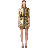 Versace Multicolor Silk Barocco Shirt Dress