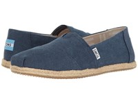 Toms Seasonal Classics Navy Washed Canvas Rope Sole Women's Slip On Shoes Blue