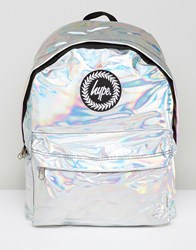 Hype Backpack In Silver Holographic Silver