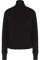 Victoria Beckham Ribbed Cotton Blend Turtleneck Sweater Black