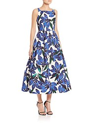 Milly Petal Printed Fit And Flare Dress Blue