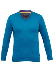 Ted Baker Alterna Silk Blend V Neck Jumper Turquoise
