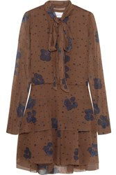 See By Chloe Pussy Bow Printed Silk Mini Dress Brown