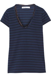 Sacai Luck Chiffon Trimmed Cotton Jersey T Shirt Blue