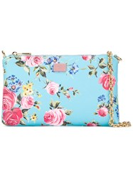 Dolce And Gabbana Floral Print Chain Clutch Bag Blue