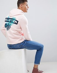 Hollister Back Print Solid Hoodie In Pink Light Pink