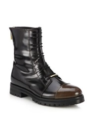 Jimmy Choo Haze Glossed Leather Combat Boots Black Brown