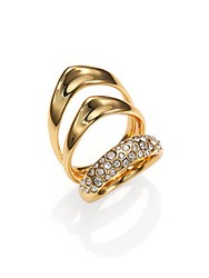 Alexis Bittar Miss Havisham Liquid Crystal Triple Band Ring Goldtone