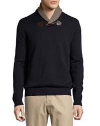 Neiman Marcus Shawl Collar Toggle Sweater Dark Midnight