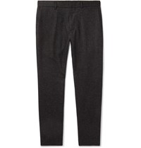 Club Monaco Dark Grey Tapered Wool Blend Herringbone Trousers Charcoal