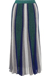 Missoni Pleated Metallic Stretch Knit Maxi Skirt Silver