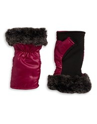 Ur Powered Faux Fur Accented Tech Gloves Pink