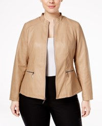 Alfani Plus Size Faux Leather Moto Jacket Only At Macy's Modern Camel
