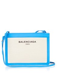 Balenciaga Navy Pochette Cotton Canvas Cross Body Bag Blue Multi
