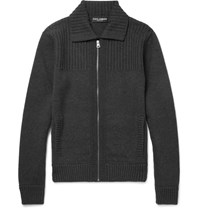 Dolce And Gabbana Ribbed Wool Zip Up Cardigan Dark Gray