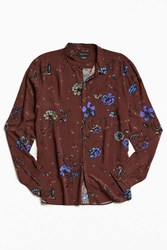 Urban Outfitters Uo Owen Rose Print Rayon Button Down Shirt
