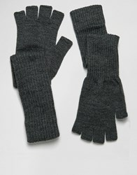 Asos Fingerless Gloves With Long Cuff In Black Black