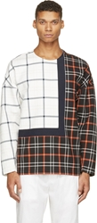 3.1 Phillip Lim White And Black Checkered Quilted Pullover
