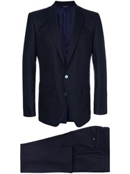 Dolce And Gabbana Formal Suit Silk Viscose Virgin Wool Blue
