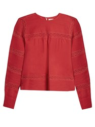 Etoile Isabel Marant Lace Trimmed Long Sleeved Cotton Top Red