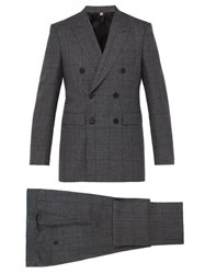 Burberry Slim Fit Checked Wool Suit Dark Grey