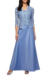 Alex Evenings Women's Sequin Lace And Satin Gown With Jacket Antique Blue