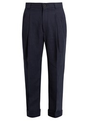 Haider Ackermann Agrippina Tapered Leg Linen Trousers Navy