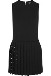 Mcq By Alexander Mcqueen Studded Crepe Mini Dress Black