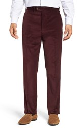 John W. Nordstrom Torino Traditional Fit Flat Front Corduroy Trousers Burgundy