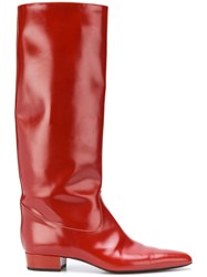 Nina Ricci Tall Pointed Boots Red