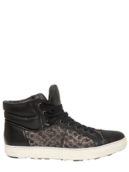 Miharayasuhiro Woven Silk And Leather Sneakers Black Gold